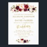 "Autumn Marsala Floral Gold Elegant Wedding Card<br><div class=""desc"">Autumn Marsala Floral Gold Elegant Wedding Card</div>"