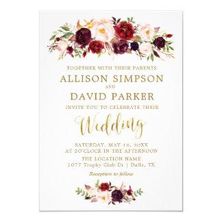 Autumn Marsala Floral Gold Elegant Wedding Card