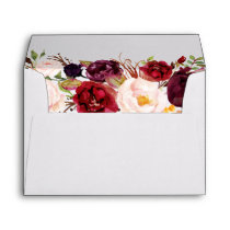 Autumn Marsala Floral Gold Return Address Envelope