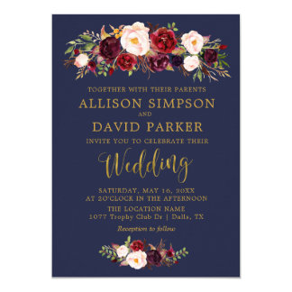Autumn Marsala Floral Navy Elegant Wedding Card