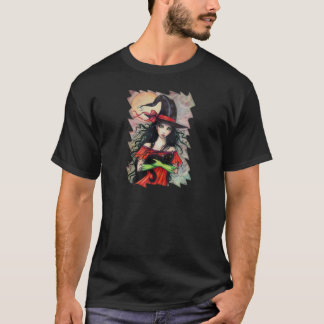 Autumn Mischief  Halloween Witch and Balck Cat T-Shirt