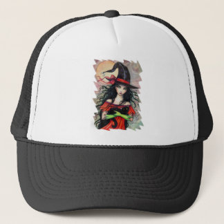 Autumn Mischief  Halloween Witch and Balck Cat Trucker Hat