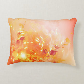 Autumn mood, foliage and flowers accent pillow