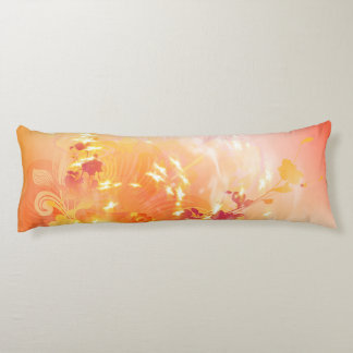 Autumn mood, foliage and flowers body pillow