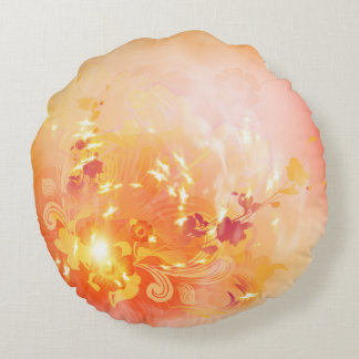 Autumn mood, foliage and flowers round pillow