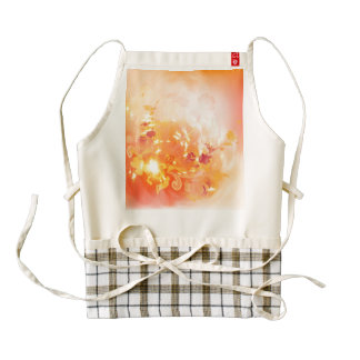 Autumn mood, foliage and flowers zazzle HEART apron