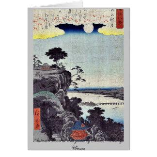 Autumn moon at Ishiyama by Ando, Hiroshige Ukiyoe Stationery Note Card