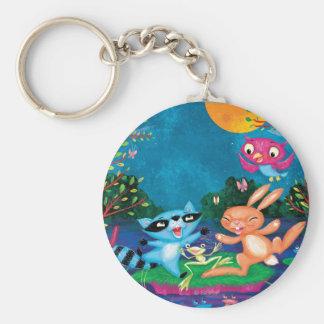Autumn Moon Basic Round Button Keychain