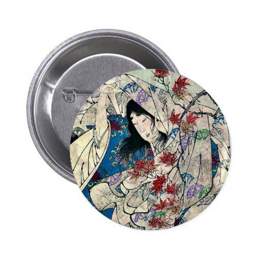 Autumn moon over Sumiyoshi by Taiso, Yoshitoshi 2 Inch Round Button