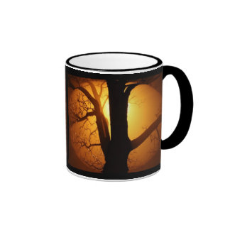 Autumn Moon Shining Through the Tree Ringer Mug