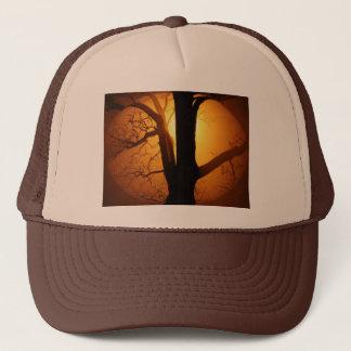 Autumn Moon Shining Through the Tree Trucker Hat