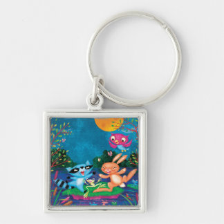 Autumn Moon Silver-Colored Square Keychain