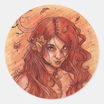 gothic, fairy, elf, portrait, face, woman, goth, orange, moon, autumn, fae, faeries, elven, princess, beauty, season, fall, leave, leaf, maple, punk, emo, vamp, vampire, fantasy, zerick, delphine, levesque, demers, nymph, halloween, girl, vampires, Sticker with custom graphic design
