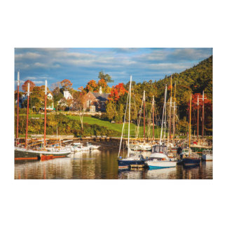 Autumn Morning In The Camden Harbor, Camden Canvas Print
