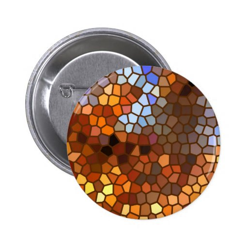 Autumn Mosaic Abstract 2 Inch Round Button