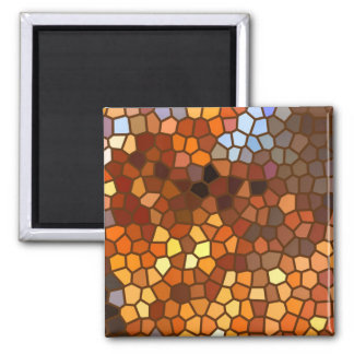 Autumn Mosaic Abstract 2 Inch Square Magnet