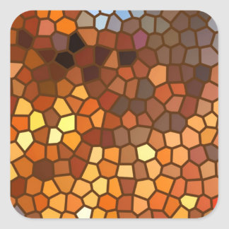 Autumn Mosaic Abstract Square Sticker