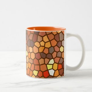 Autumn Mosaic Abstract Two-Tone Coffee Mug