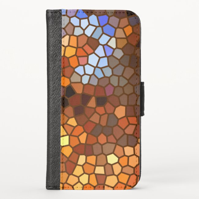 Autumn Mosaic Pattern iPhone X Wallet Case