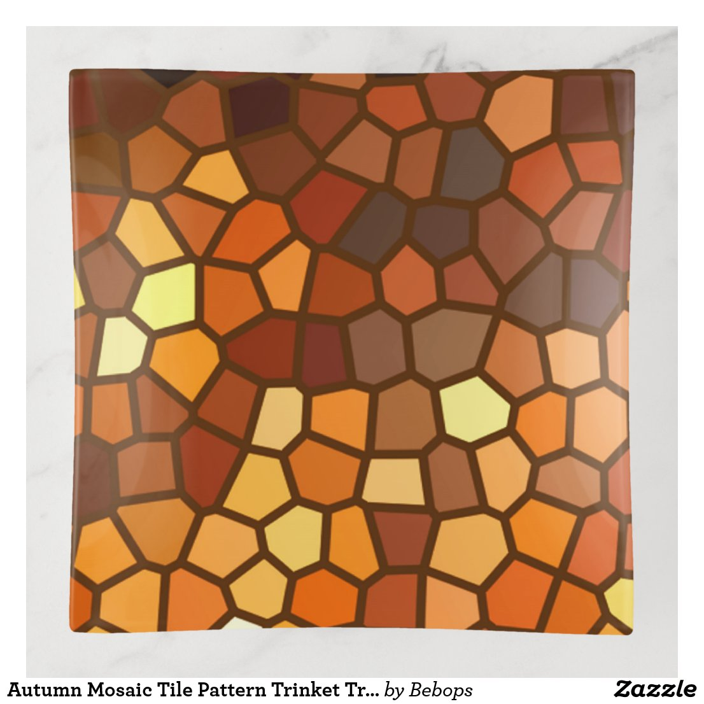 Autumn Mosaic Tile Pattern Trinket Tray