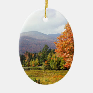 Autumn Mount Mansfield Vermont Double-Sided Oval Ceramic Christmas Ornament