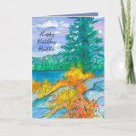 """Autumn Mountain Lake Happy Birthday Brother Card<br><div class=""""desc"""">A fall season birthday card featuring a mountain lake during autumn with plants and bushes growing in the rocks and changing colors to bright yellows and oranges with a periwinkle sky sketched with ink and painted with watercolor.   You can customize the text to fit your needs.</div>"""