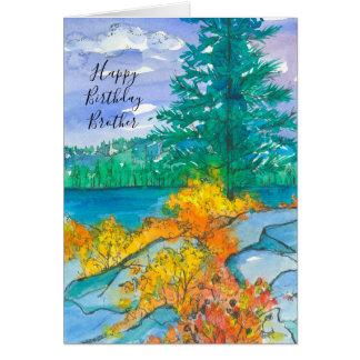 Autumn Mountain Lake Happy Birthday Brother Card