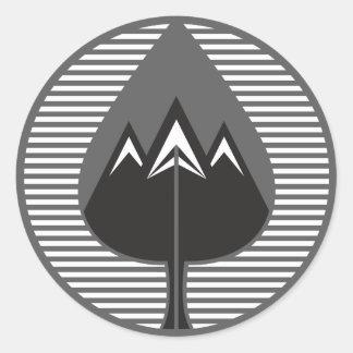 autumn mountains classic round sticker
