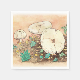 autumn mushrooms nature artwork napkin