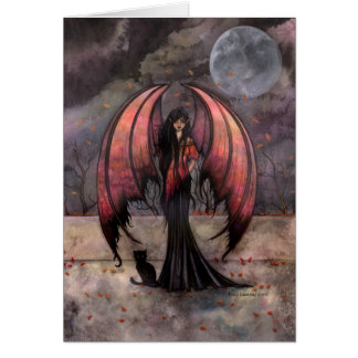 Autumn Mystique Gothic Fairy Fantasy and Cat Card