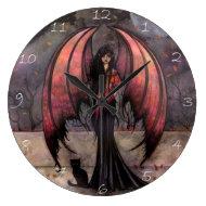 Autumn Mystique Gothic Fairy Vampire Cat Clock