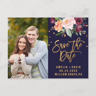 Autumn Navy and Gold Save the Date Photo Announcement Postcard