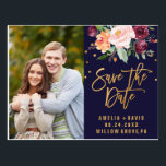 "Autumn Navy and Gold Save the Date Photo Postcard<br><div class=""desc"">This autumn floral save the date photo postcard is perfect for a fall wedding. Personalize the front of the announcement with your favorite engagement photo, your names and your wedding date. Customize the back with your wedding details and return address. Please Note: This design does not feature real gold foil....</div>"