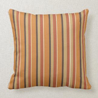 Autumn Nutmeg with Pumpkin Spice Stripes Throw Pillow