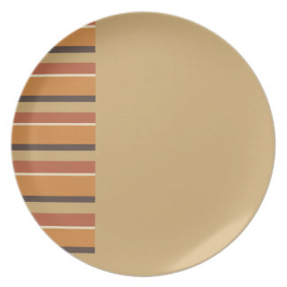 Autumn Nutmeg with Striped Pumpkin Spice Colors Dinner Plate