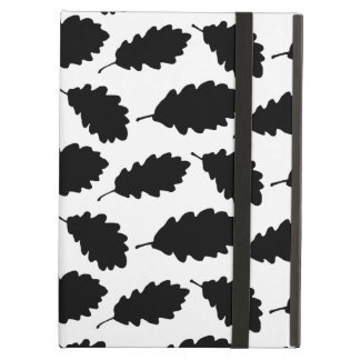 Autumn Oak Leaf Pattern Elegant Black and White iPad Air Case