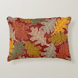 Autumn Oak Leaves Accent Pillow