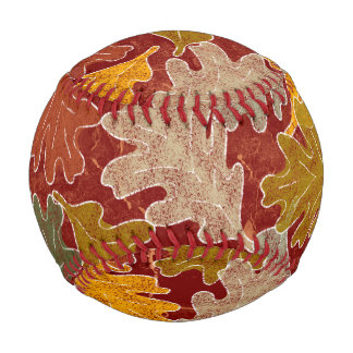 Autumn Oak Leaves Baseball