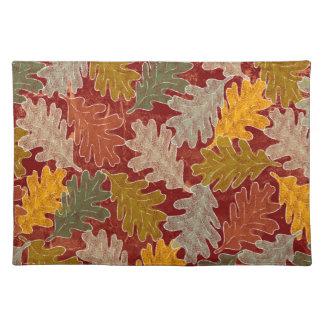 Autumn Oak Leaves Cloth Placemat