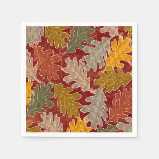 Autumn Oak Leaves Paper Napkin