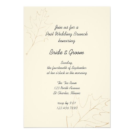 Autumn Oak Leaves Post Wedding Brunch Invitation