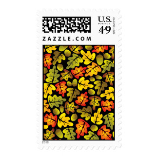 autumn oak leaves postage stamps