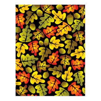 autumn oak leaves postcard