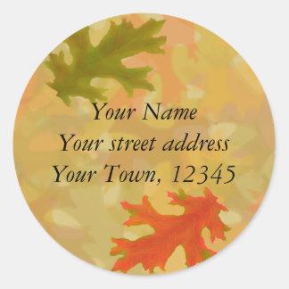Autumn oak leaves round sticker