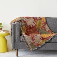 Autumn Oak Leaves Throw Blanket