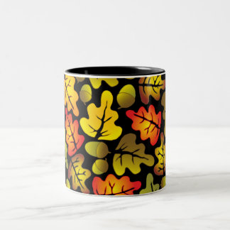 autumn oak leaves Two-Tone coffee mug