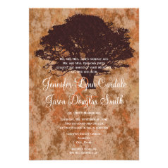 Autumn Oak Tree Silhouette Fall Wedding Invitation