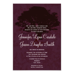 Autumn Oak Tree Silhouette Fall Wedding Invitation 4.5
