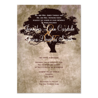 "Autumn Oak Tree Silhouette Fall Wedding Invitation 4.5"" X 6.25"" Invitation Card"