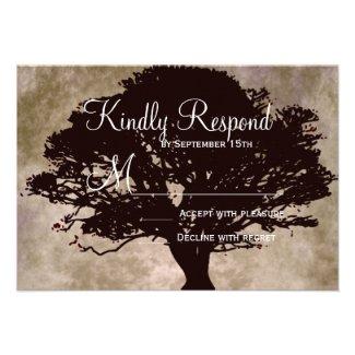 Autumn Oak Tree Silhouette Fall Wedding RSVP Cards